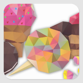 Sweets made by triangles square sticker