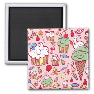 Sweets on Pink 2 Inch Square Magnet