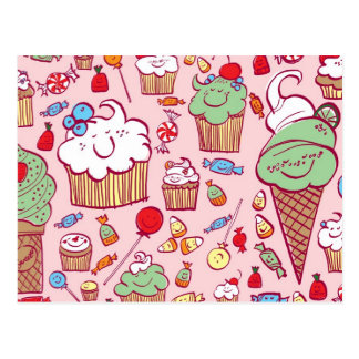 Sweets on Pink Postcards