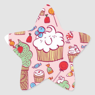 Sweets on Pink Star Sticker