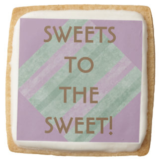 Sweets To The Sweet Mint and Mauve Geometric Square Shortbread Cookie