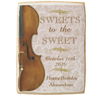 Sweets To The Sweet, Violin Birthday Wishes Shortbread Cookie