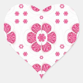 Sweety Pink Floral Pattern Heart Sticker