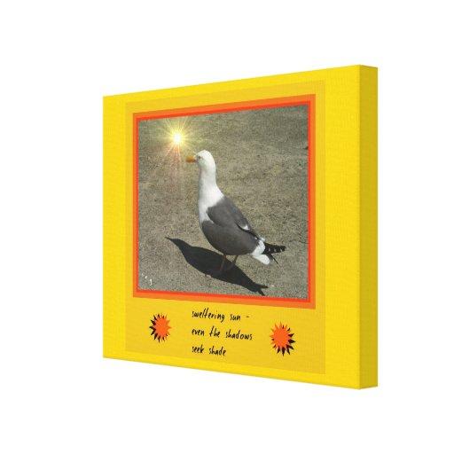 Sweltering Sun Seagull Haiku Art Wrapped Canvas Canvas Print