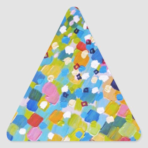 SWEPT AWAY 1 - Bright Colorful Rainbow Blue Ocean Triangle Stickers