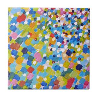 SWEPT AWAY 1 - Bright Colorful Rainbow Blue Ocean Tile