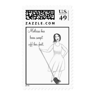 Swept Off Her Feet Bridal Shower Postage Stamps