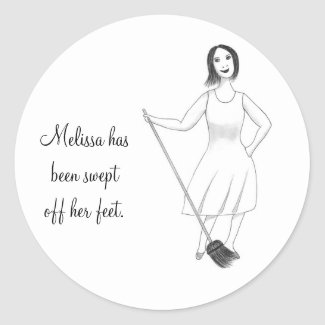 Swept Off Her Feet Bridal Shower Stickers