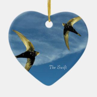 Swift Bird Image for Heart Ornament