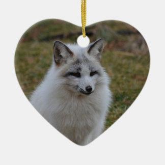 Swift Fox Double-Sided Heart Ceramic Christmas Ornament
