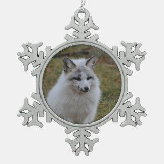 Swift Fox Snowflake Pewter Christmas Ornament