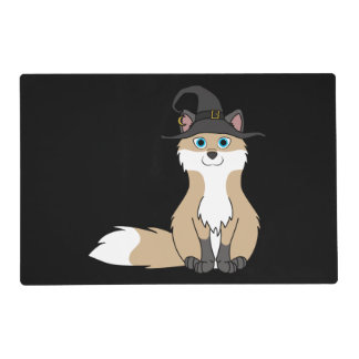 Swift Fox with Halloween Witch Hat Laminated Placemat