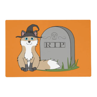 Swift Fox with RIP Grave Stone Laminated Place Mat