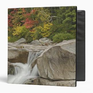 Swift River cascading through rocks, White 3 Ring Binders