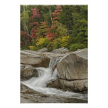 Swift River cascading through rocks, White Poster