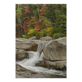 Swift River cascading through rocks, White Poster
