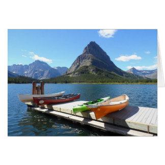Swiftcurrent Lake Boats- Glacier National Park Card