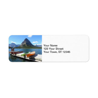 Swiftcurrent Lake Boats- Glacier National Park Label