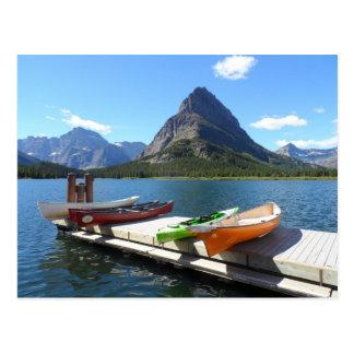 Swiftcurrent Lake Boats- Glacier National Park Postcard