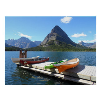 Swiftcurrent Lake Boats- Glacier National Park Poster