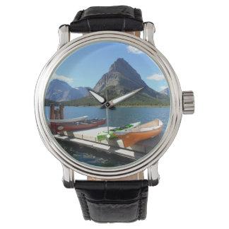 Swiftcurrent Lake Boats- Glacier National Park Wrist Watch