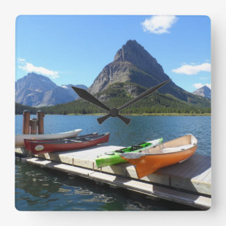 Swiftcurrent Lake- Glacier National Park Square Wall Clocks