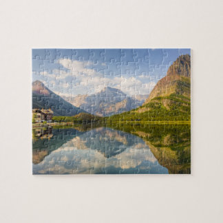 Swiftcurrent Lake with Many Glacier hotel and Jigsaw Puzzle