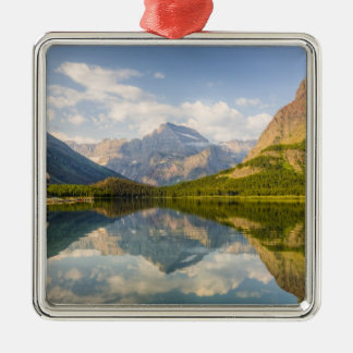 Swiftcurrent Lake with Many Glacier hotel and Metal Ornament