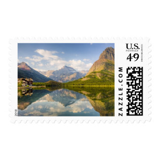 Swiftcurrent Lake with Many Glacier hotel and Postage