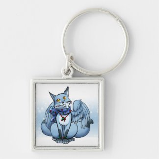 Swiftpaw: Candycane Silver-Colored Square Keychain