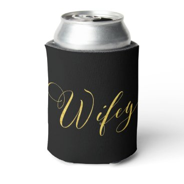 colourarts SWILRING GOLD SCRIPT WIFEY IN BLACK CAN COOLER
