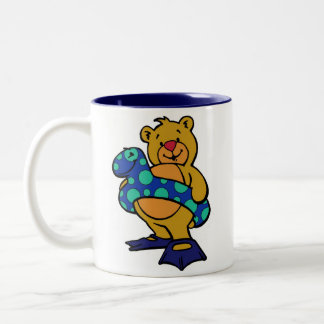 Swim Bear Two-Tone Coffee Mug