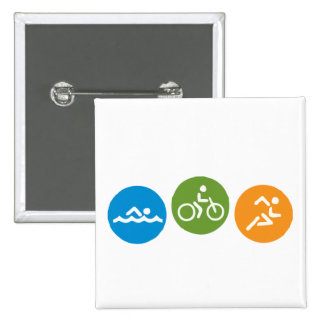 Swim Bike Run Pinback Buttons