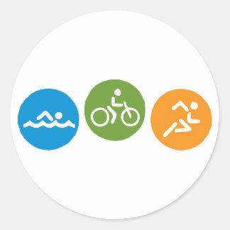 Swim Bike Run Classic Round Sticker
