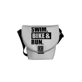 Swim bike run courier bag