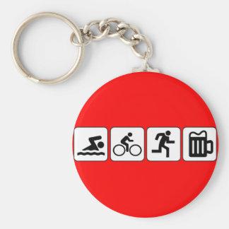 Swim Bike Run Drink Basic Round Button Keychain