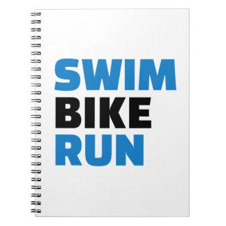 Swim bike run spiral note book
