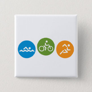 Swim Bike Run Pinback Button