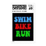 Swim Bike Run Postage Stamps