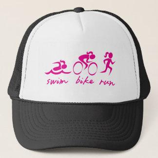 Swim Bike Run Tri Girl Trucker Hat