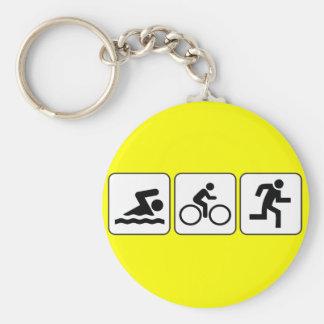 Swim, Bike, Run - Triathlon Basic Round Button Keychain