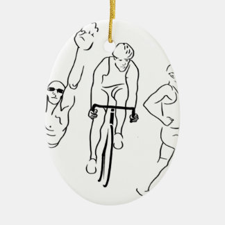 Swim Bike Run Triathlon Ceramic Ornament