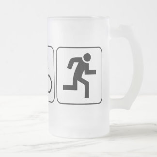 Swim, Bike, Run - Triathlon Frosted Glass Beer Mug