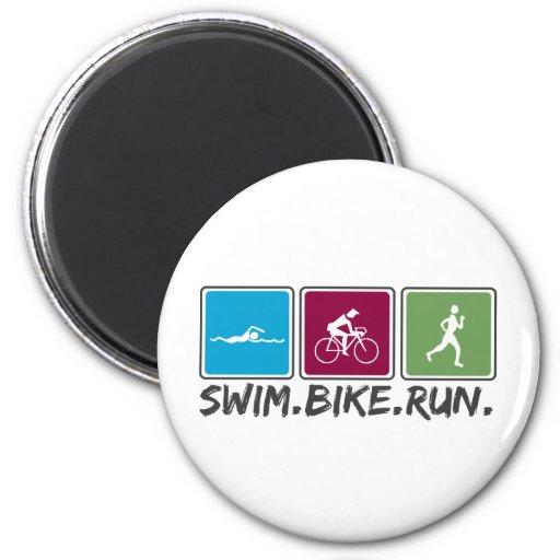 swim bike run (triathlon) refrigerator magnets