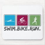 swim bike run (triathlon) mouse pad