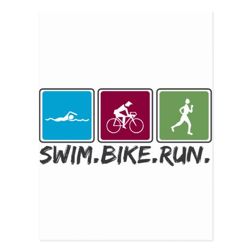 swim bike run (triathlon) post card