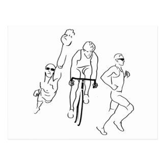 Swim Bike Run Triathlon Postcard