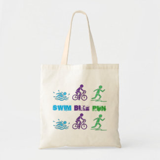 Swim Bike Run Triathlon Triathlete Ironman Race Tote Bag