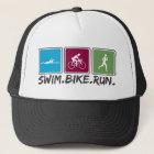 swim bike run (triathlon) trucker hat