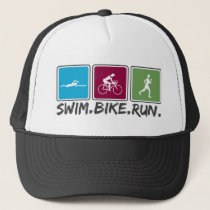 swim bike run (triathlon) trucker hat